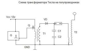 Принципиальная схема трансформатора Тесла