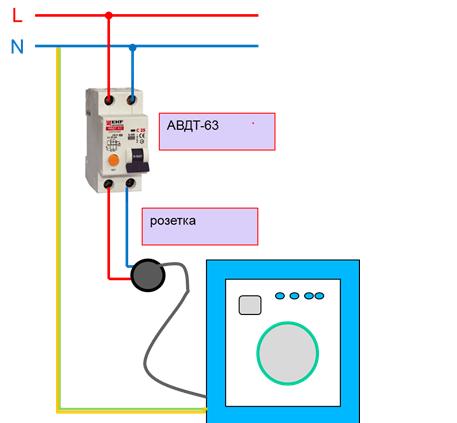 Схема подключения стиральной машины к электросети