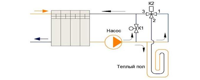 схема с трехходовым клапаном для теплого пола