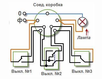 Проходной выключатель на три контакта и два положения