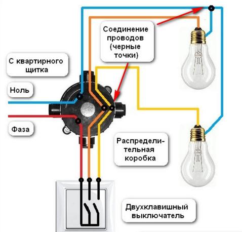 Схема подключения двухклавишного выключателя с системой заземления TB-C