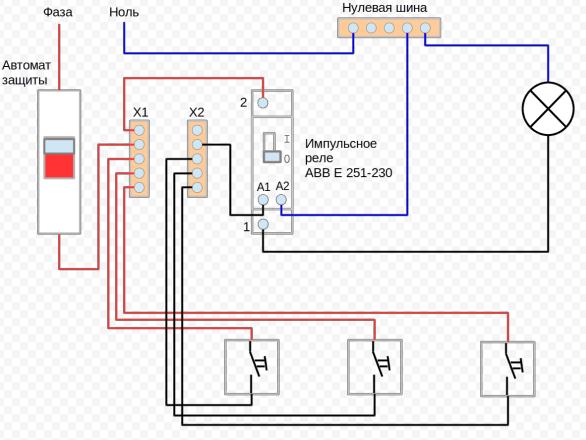 Схема подключения импульсного реле