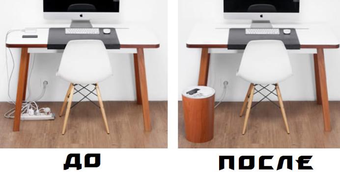 спрятать провода под столом