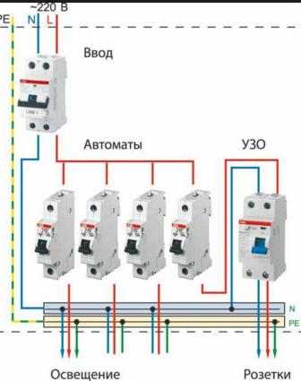 схема пожключения автоматических выключателей