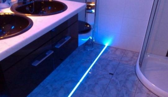 Освещение в полу ванной особенности