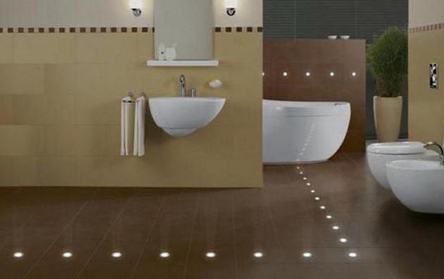 Освещение в полу ванной