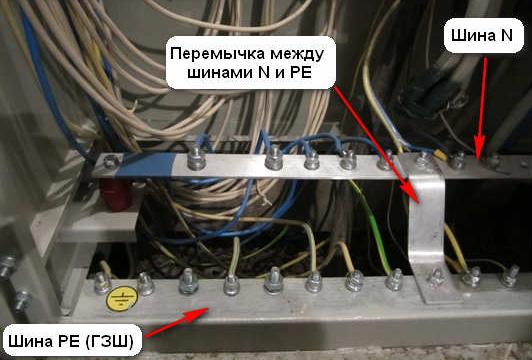 Разделение PEN проводника на шину PE и шину N