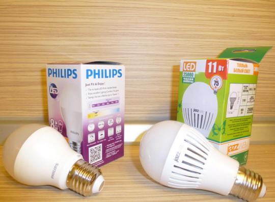 Сравнение светодиодных ламп Jazzway и Philips