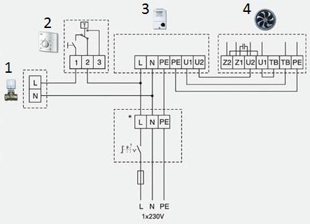 Схема автоматической системы тепловентилятора