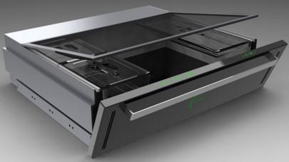 Дизайнерская модель микроволновки в шкафу