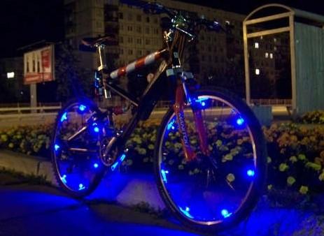 Подсветка велосипеда светодиодной лентой