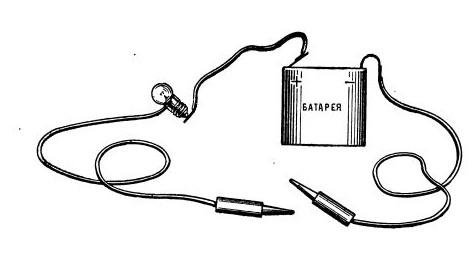 Прозвонка кабеля лампочкой и батарейкой