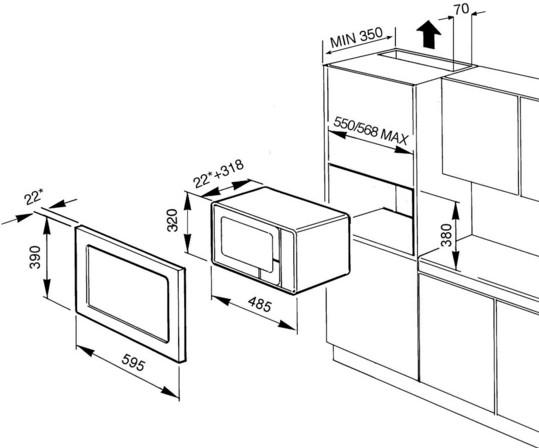 Размер ниши для микроволновки