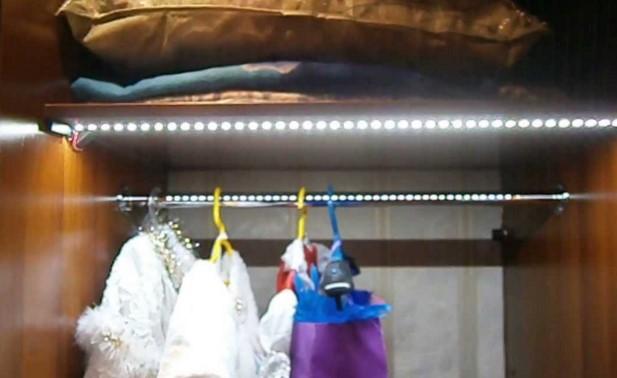 делаем светодиодную подсветку в шкафу