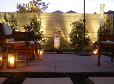 подсветка террасы лампами