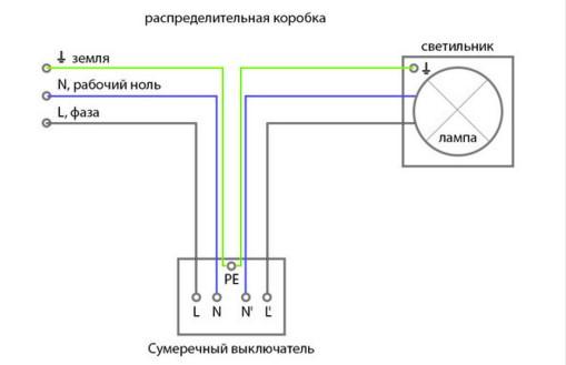 схема подключения фотореле напрямую