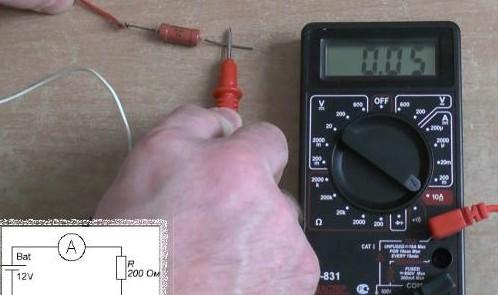 Подключение красного щупа к гнезду 10А