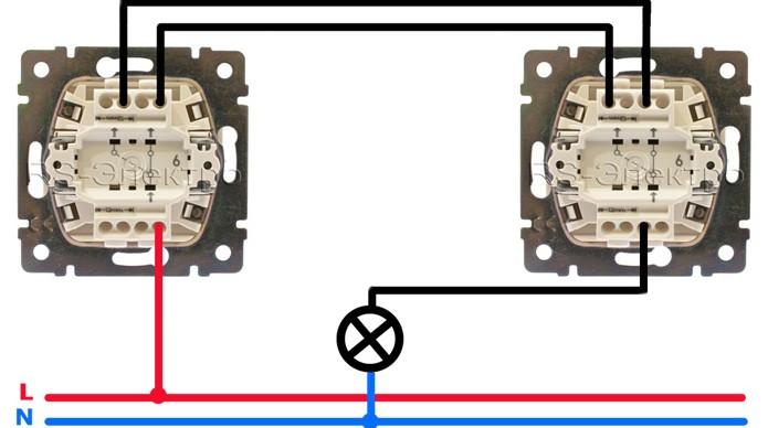 Схема подключения проходного выключателя с одной клавишей