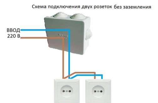 Схема подключения сдвоенной розетки без заземления