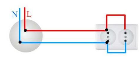 Схема подключения сдвоенной розетки