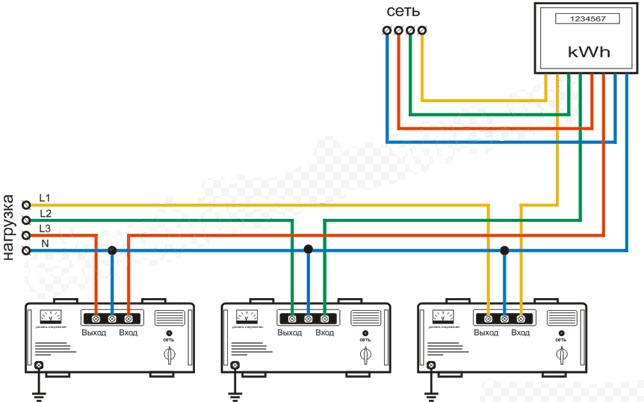 Схема подключения трехфазного стабилизатора