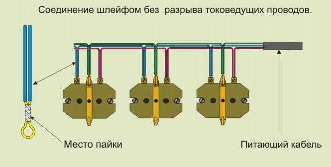 Схема подсоединения розеток шлейфом