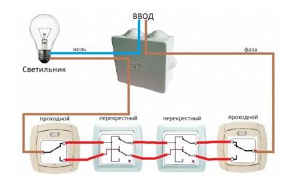 Схема проходного выключателя для управления из 4-х мест