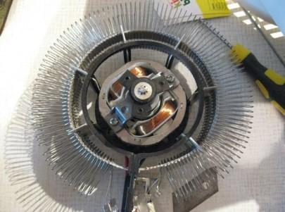 Спиральный нагревательный элемент на тепловентиляторе