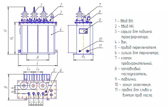 Конструкция трансформатора ТМГ