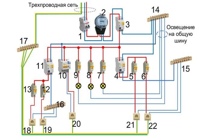 Как подключить двухполюсный автомат схема
