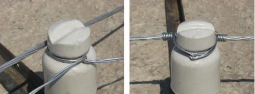 Крепление провода на изоляторе