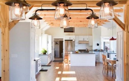 Лампы Эдисона на кухне