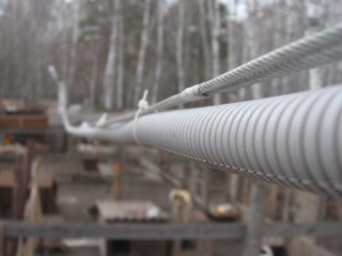 Протяжка кабельной линии в гофре