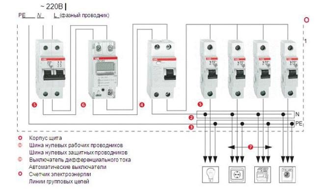 схема подключения двухполюсного автомата