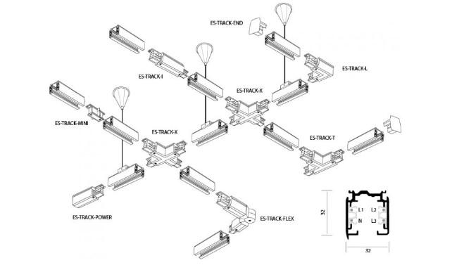 схема подключения трекового светильника