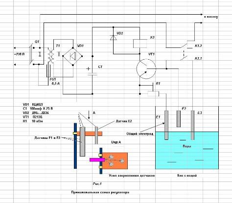 Электрическая схема датчика уровня воды