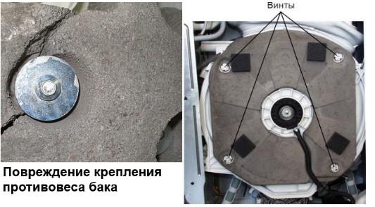 Разрушение противовеса на стиральной машине