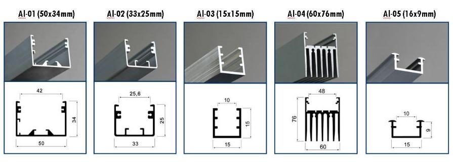 размеры П профиля для светодиодной ленты
