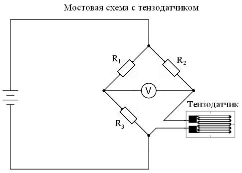 Схема наклеиваемого тензодатчика