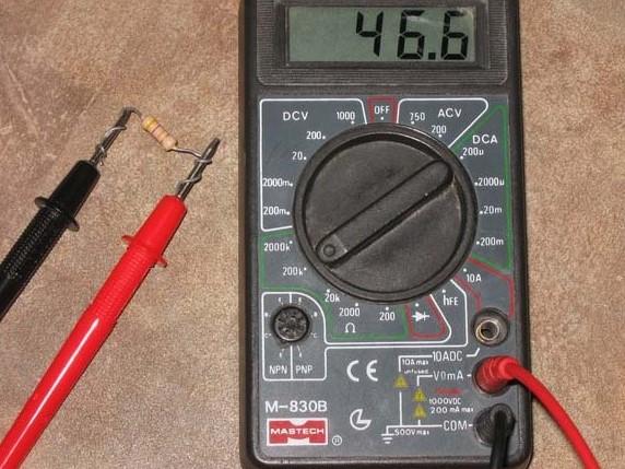 Подключение мультиметра при измерении емкости