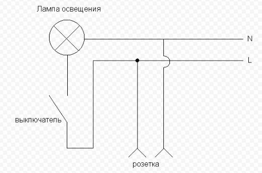 Схема розетка-выключатель-лампочка