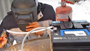 Как сделать сварочный аппарат из автомобильного аккумулятора