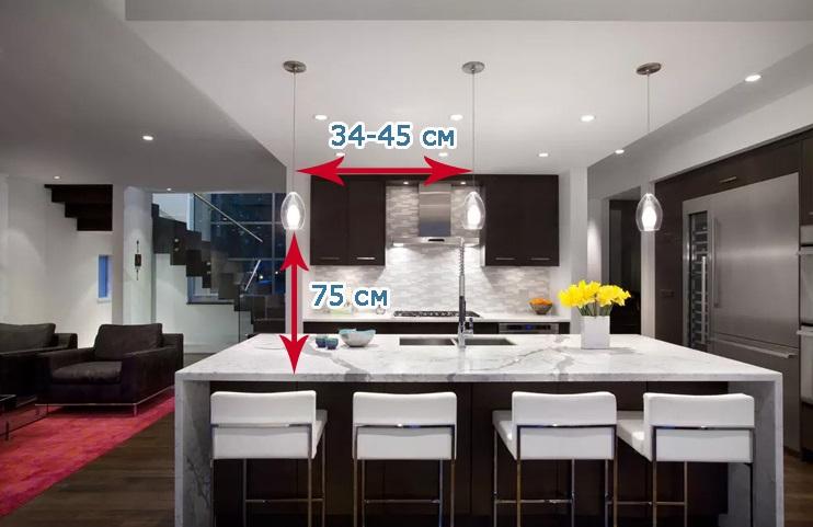 как рассчитать расстояние между светильниками