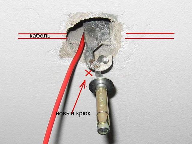 как закрепить люстру на потолке из бетона