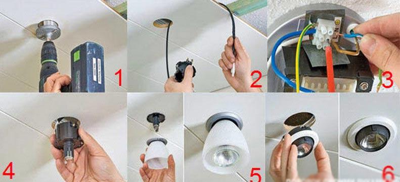 какое отверстие под точечный светильник
